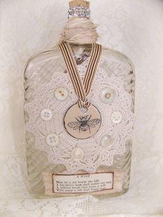 altered bottles | Altered Bottle Shabby White Decor Vintage Bee Bottle Antique Bottle ...