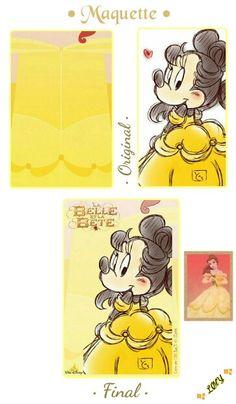"""☞ {Maquette aperçu : Original/Final} ✯ Princesse Minnie en parodie de Belle ✯ ~ Film d'Animation : """"La Belle et la Bête"""" ~ Créer par : ⭐ ✄_LølY_✍ ⭐ ~ [❤_Disney_❤]"""