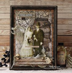 Hello everyone. Today, I'm sharing my Til' Death Do Us Part framed panel which I made for the Tim Holtz Halloween Inspiration Series. Halloween Shadow Box, Halloween Frames, Halloween Week, Halloween Pictures, Holidays Halloween, Happy Halloween, Halloween Decorations, Halloween Witches, Shadow Box Kunst