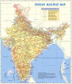 Indian Railways Map includes important broad gauge lines, meter gauge and narrow gauge lines with highlights.