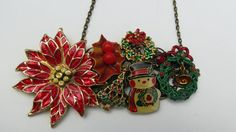 Vintage Repurposed Collage Necklace Christmastime by LucysRedRose, $28.00