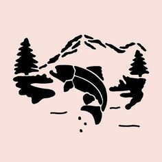 Trout stencil fish mountain pine tree trees stencils river template new x Tree Stencil, Stencil Art, Stencils, Decor Crafts, Craft Decorations, Kids Crafts, Silhouette Projects, Silhouette Cameo, Fishing Signs