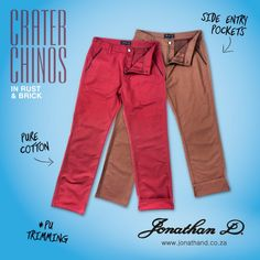 Made from cotton, Jonathan D's Crater Chinos feature slimming side entry pockets with PU trim detailing. Available in brick, camel, cobalt and rust colourways. Summer 2014, Cobalt, Rust, Camel, Brick, Khaki Pants, Slim, Pockets, Cotton