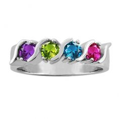 Family/Mother's Ring Round Birthstones Design in Silver or Gold