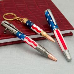 Stars and Stripes Acrylic Pen Blanks from Craft Supplies USA --- Add a touch of patriotic flair to your next project with Pen Makers Choice™ Stars and Stripes Acrylic Pen Blanks.  Available in three patterns to choose from, they can be used as is on two piece pens for a stars and stripes theme, or with some extra effort they can be laminated together to create a flag pattern or Americana theme on small projects that would make Uncle Sam proud! #penturning #penmaking #flag