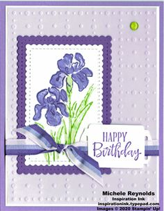 Inspiring Iris Framed Flowers Birthday by Michelerey - Cards and Paper Crafts at Splitcoaststampers 3d Cards, Folded Cards, Stampin Up Cards, Happy Birthday, Carnival Birthday Parties, Handmade Birthday Cards, Handmade Cards, Card Making Tutorials, Iris Flowers