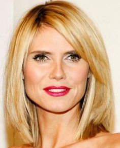 Heidi Klum's side parted,long straight bob hairstyle.