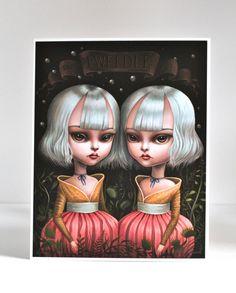Tweedle Dee et Tweedle Dum - édition limitée Alice au pays des merveilles signent numéroté 8 x 10 lowbrow de pop surréalisme Fine Art Print par Mab Graves