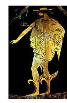 Image of Hermes wearing a chlamys over a short chiton. On his head he has a petasos.