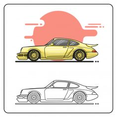 porsche 964 Porsche 964, Yellow Car, Vector Free, Cars, Classic, Prints, Projects, Collection, Autos