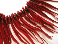Boheme Statement Necklace. Leather Jewelry. Red Suede Fringe Necklace. Statement…
