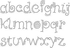 Cute doodles for hand lettering Doodle Fonts, Doodle Lettering, Creative Lettering, Lettering Styles, Doodle Art, Chalk Lettering, Fonte Alphabet, Zentangle, Hand Lettering Alphabet