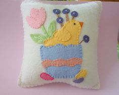 Felt Easter Chick Pillow in Easter Egg Spring Tulips Applique Penny Rug