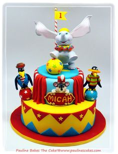 """Balancing Dumbo With """"Gravity Defying Ears"""" Is The Star Of The Circus! - by paulinescakes @ CakesDecor.com - cake decorating website"""