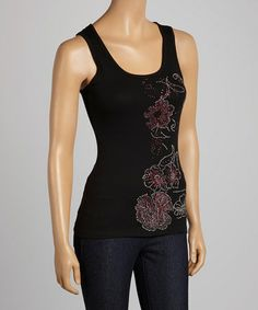 Look what I found on #zulily! Black Studded Flower Tank #zulilyfinds....this one's for the mama cutie ;-)