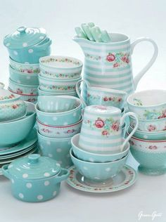 Greengate Aqua Dishes. Pretty AND my favorite color.