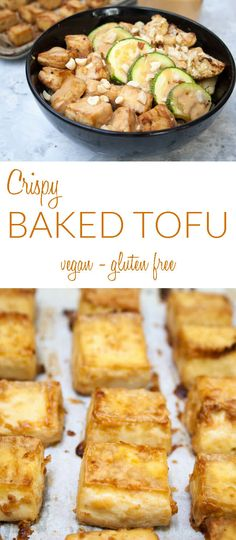 Crispy Baked Tofu with Peanut Sauce (vegan, gluten free) - This easy baked tofu recipe is crispy on the outside and soft on the inside. Add it to Buddha bowls, served over rice noodles or quinoa, or added to a salad. The peanut sauce is so good you may be tempted to drink it! #vegan #bakedtofu #peanutsauce #gutenfree