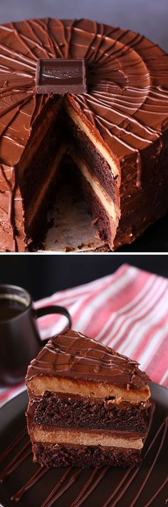 Super Fancy Chocolate Cheesecake Cake: This recipes combines a moist, rich layer cake with a tangy chocolate cheesecake to make a super fancy, super delicious holiday masterpiece.