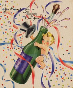 greetings for a happy new year champagne vintage new_years card new