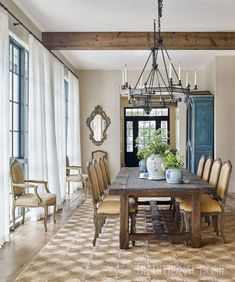 This beautiful South Carolina home belongs to Jacqueline Bourg that she shares with her husband and their two young boys. With the help fro. Farmhouse Dining Room Table, Dining Room Table Decor, Dining Room Walls, Dining Room Lighting, Dining Room Sets, Dining Room Design, Dining Room Furniture, Table Lamps, Room Chairs