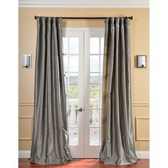 Silver Grey Faux Silk Taffeta Window Curtain 96 Inches Single Panel Platinum Fabrics Solid Color Window Treatment Lined Energy Efficient Elegance
