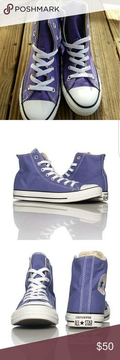 All Star High Top Converse Size 7 CONVERSE  All Star Hi Sneaker  Lace up closure  Color: Purple CONVERSE star logo detail  Cushioned inner sole for comfort FABRIC: Canvas  New in box, Unworn   ***FIT: Unisex (Mens size 5/ Womens size 7) Converse Shoes Sneakers