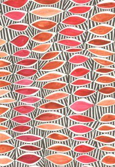 Surface pattern design by Sarah Bagshaw Motifs Textiles, Textile Prints, Textile Patterns, Textile Design, Fabric Design, Fabric Art, Trippy Patterns, Lino Prints, Block Prints