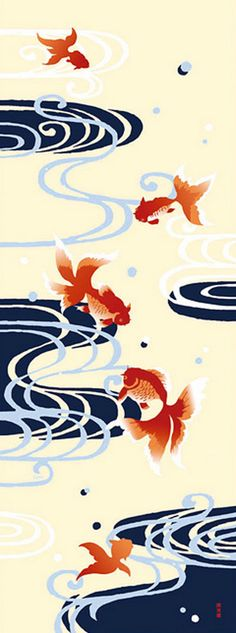 Japanese Tenugui Cotton Fabric, Hand Dyed Fabric, Goldfish Fish, Running Water, Wall Hanging, Home Decor, Modern Summer Art Fabric, JapanLovelyCrafts