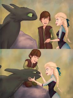 Elsa meeting with Toothless