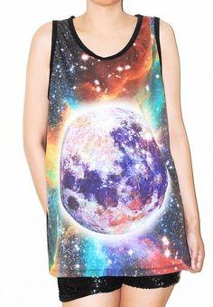 Full Moon Rainbow Aura Singlet Tank Top Sleeveless Women Tee Size L
