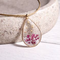 Excited to share this item from my shop: Real pressed flower teardrop necklace clear gold necklace nature pendant herbarium jewelry botanical necklace bride gift resin ideas resin craft handmade diy Queen Anne's lace flower in resin jewelry