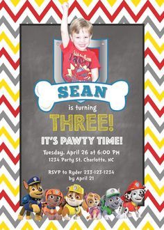 9 best kids birthday invitations rkdesigns images on pinterest printed paw patrol birthday invitation and envelope personalize with or without a picture celebrate your filmwisefo