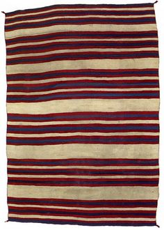 """Late classical striped sarape; warp: handspun wool – white, weft: handspun wool – white, indigo- blue dyed; raveled bayeta – crimson dyed with cochineal and lac; 72.5"""" x 49""""; Navajo; 1860-70 by Knoxville Museum of Art, via aplatformjournal.blogspot.co.uk"""