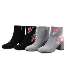 Embroidery Floral WOmens Round Toe Block High Heel Chunky Zipper Ankle Boots #Unbranded #AnkleBoots