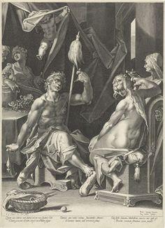 Hercules en Omphale, Aegidius Sadeler, 1580