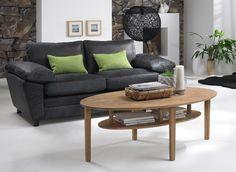 Daksha sofabord - Ovalt sofabord i oliebehandlet eg med hylde