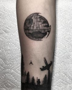 Different spin on the tree silhouette, never forget Endor. #tattoo #blackwork #blackworkers #blackworkerssubmission #endor #starwars #deathstar