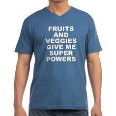 Men's dark color stone blue v-neck t-shirt with Fruits And Veggies Give Me Super Powers theme. Fruits and vegetables can improve your health and will literally change and save your life. Available in black, navy blue, Heather grey, stone blue; small, medium, large, x-large, 2x-large for only $24.99. Go to the link to purchase the product and to see other options – http://www.cafepress.com/stfruitsveggies