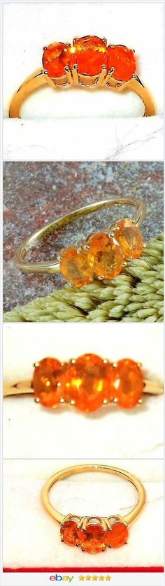 Jalisco Fire Opal 10 K Yellow Gold 3 Stone Ring 1.30 Carats. Size 8