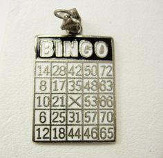Vintage Bingo Card Charm Pendant Enamel by NeatstuffAntiques, $50.00