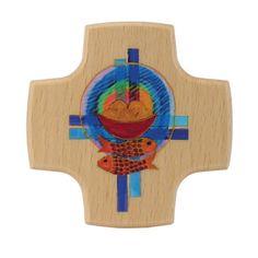 Holzkreuz Brot Fische Kreuze 8 x 8 cm 001