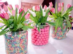 Cereal as a vase filler for breakfast themed party