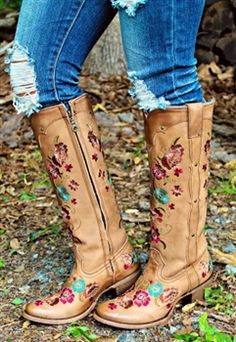 honey leather boots with floral design