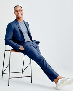 J.Crew men's Ludlow suit, lightweight sweater and Vans® for J.Crew Old Skool sneakers in suede.