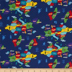 Kokka World Map Countries Royal Blue from @fabricdotcom  From Kokka, this cotton print is perfect for quilting, apparel and home decor accents.  Colors include white, blue, red, green, red, cheddar and purple.