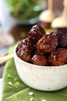 Sticky BBQ Slow Cooker Meatballs - Uses barbecue sauce to make a delicious homemade party appetizer!