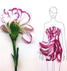 Student and fashion illustrator Grace Ciao uses real flower petals to design gorgeous fashion gowns like this one.
