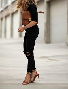 Touch of Chestnut via BrooklynBlonde.com / @Helena Glazer Tee: Express One Eleven   Jeans: Express   Shoes: Steve Madden   Clutch: Celine Friday, July 10, 2015