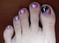 toenail+design+ideas   Toe nail polish in Metallic Purple Base Wine Tip Lace toe nail art
