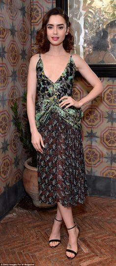 When you got it: The actress, 27, first attended the W magazine event wearing an intricately patterned dress with pleated ashes slanting down the waist and a semi-sheer skirt
